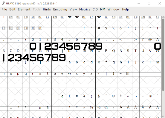 Screenshot from FontForge