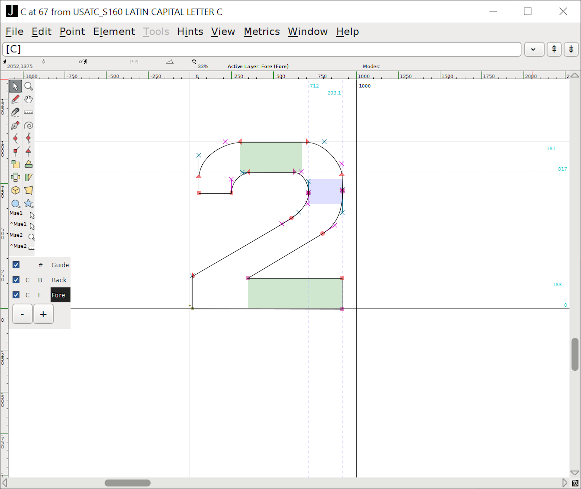 Screenshot of glyph editor in FontForge